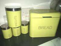 Green biscuit tin canisters and bread bin kitchen set