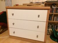 Wooden tan/white 3 drawer Chest of Drawers