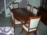Dining table-Extending, Six chairs and Display cabinet matching
