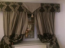 2 pairs of hand made curtains & pelmets