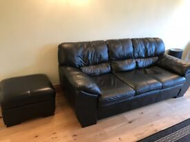 Black leather 3 seater, large armchair and foot stall