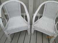 2 White Cane/wicker chairs for conservatory/garden