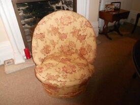 Art Deco tub chair - upholstered in gold & red