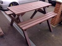 L@@K: VERY HEAVY DUTY RECYCLED PLASTIC GARDEN PICNIC BENCH FOR SALE. COULD DELIVER.