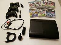 PS3 12Gb slim console with 3 controllers and games