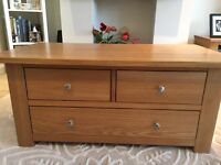 Solid oak coffee table / unit with drawers