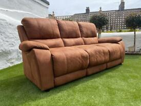 DELIVERY INCLUDED - BROWN SUEDE FABRIC THREE 3 SEATER SOFA