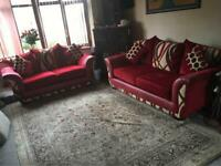 Sofa set 3+2 seater wine beige colour +4 cushions comfortable sofas used v,good condition £150