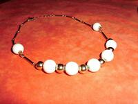 Elegant Choker Style Vintage Sarah Cov Gold and White Necklace