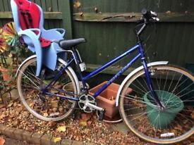 "Hybrid road bike with child seat 21 Speed. 20"" frame"