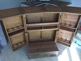 Oak Fold Away Bar Cabinet plus 2 Stools & Optics