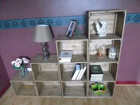 Rustic Style Handmade Free Standing Shelving Unit- Many Colours and Sizes