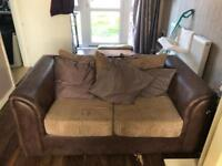 2 Brown Leather and Fabric settees