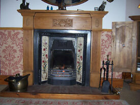 Reproduction Victorian Style Floral Tiled Fireplace and Pine Surround