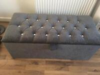 Chenille Charcoal Grey Ottoman With Diamond Studding
