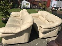 Cream italian leather sofa and sofa bed- cat scratches but could be covered