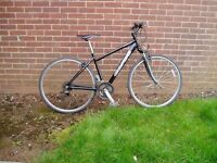 "HYBRID, Bike, 18"" Alloy frame, 700c Alloy wheels, fr/Suspension, cost over£350 NEW."