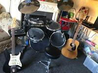 Traps electric drum set and two John Jeffrey electric