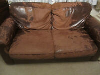 Two seater leather sofa, well worn as you can see by the pics. Very comfy.