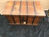 Chest cash chest with locking hasp metal straps