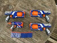 Nerf guns x 4 with 20 bullets