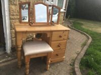Pine Dressing Table, Stool, and Triple Mirror