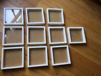 10 white square Ikea Ribba photo picture frames 23cm x 23cm