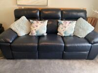 3 seater leather sofa in navy blue