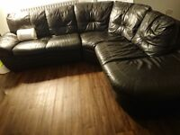 Black leather corner sofa, Ideal for anyone