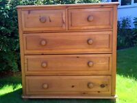 Chest of drawers - waxed pine.