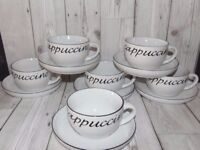 Set of 6 Cappuccino cups and saucers set