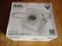iTek Vintage white corded phone NEW IN BOX retro landline homephone