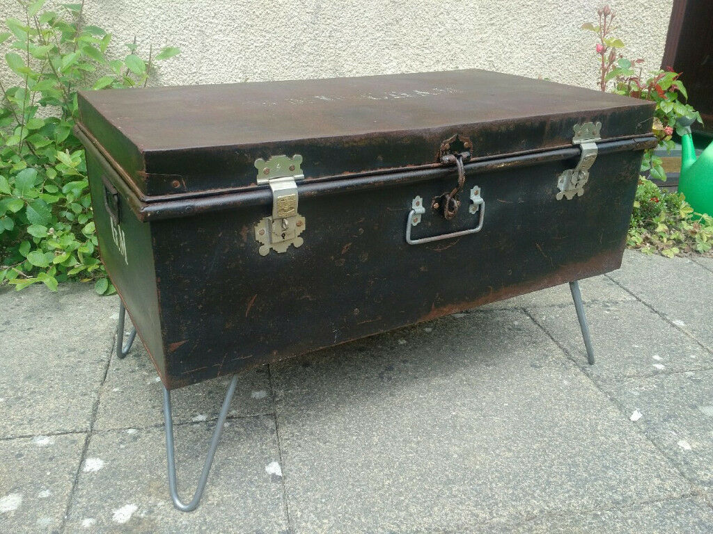 Vintage 1940s 1950s Military Trunk Coffee Table Metal Steamer