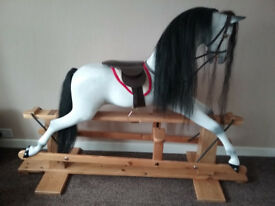 Stunning Large Dapple Grey / White Haddon Rocking Horse