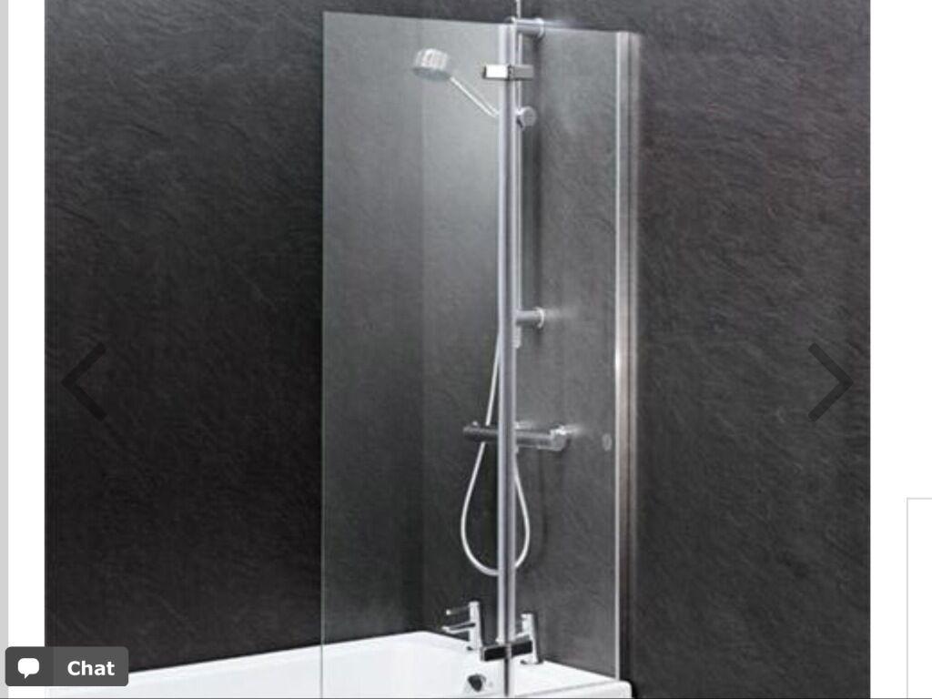 glass shower bath screen finish satin chrome brand new still glass shower bath screen finish satin chrome brand new still in box