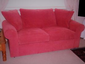 For Sale Large Two Seater Sofa in Red Fabric