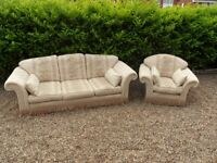WELBECK HOUSE Montrose Jasmine Fabric 3-Seater Sofa & 1 Armchairs Suite VGC