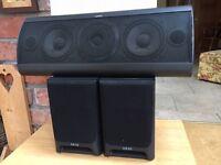 Jamo 70 watt speaker and twin Akai 40 watt speakers