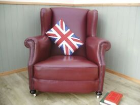 Stunning Vintage Oxblood Leather Chesterfield Chair.