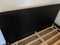 Double bed frame, black sude leather.