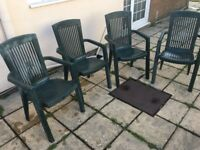 Set of 4 large green garden chairs