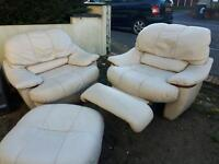 Two armchairs (one swivel and recy) and footstool. Delivery