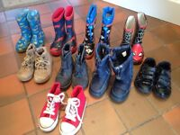 9 pairs of boys wellies/boots/shoes - size 8 - £5 the lot