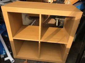 Wooden 4 piece shelving unit.