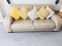 2 leather 3 seater sofas