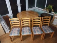 Solid Pine Dining Table and 4 Matching Chairs For Sale