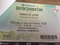 Kings of Leon British Summer Time - Thursday 6th July - General Admission - 2 tickets