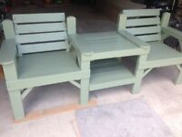 Garden bench with table attached