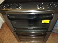 ZANUSSI DOUBLE OVEN ELECTRIC COOKER IN GOOD CLEAN WORKING ORDER BLACK & STAINLESS STEEL