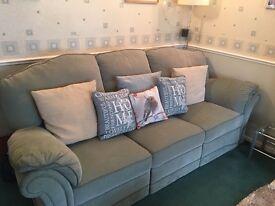 DFS 3 Piece Green Recliner Suite & Footstool